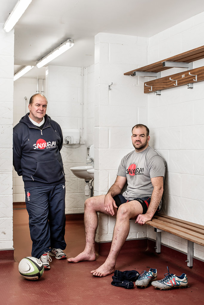Richie Andrews & Armand Roux photographed at Dorking Rugby Club